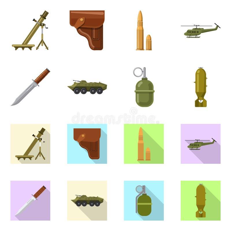 Изолированный объект знака оружия и оружия Комплект значка вектора оружия и армии для запаса иллюстрация штока