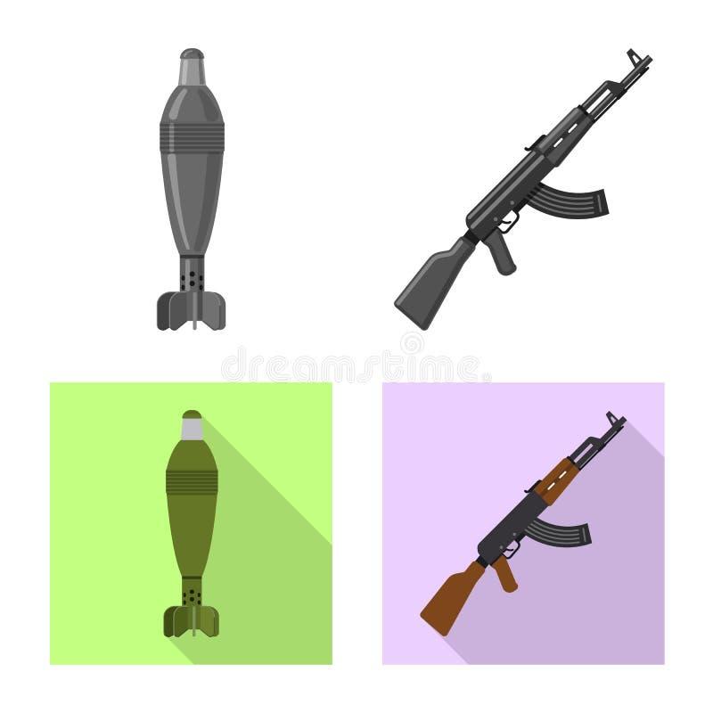 Изолированный объект знака оружия и оружия Собрание значка вектора оружия и армии для запаса иллюстрация вектора