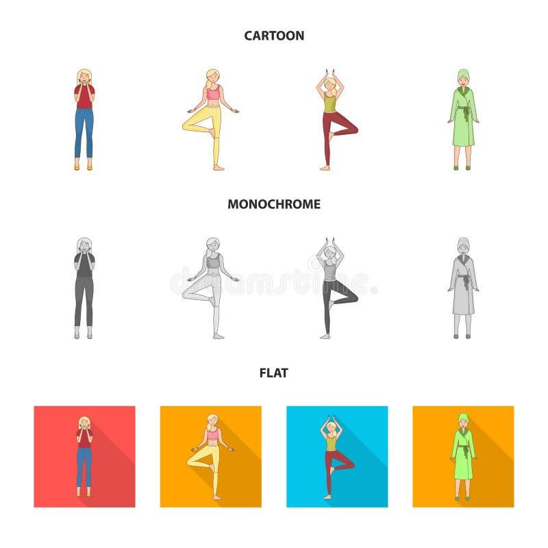 Изолированный объект знака позиции и настроения Собрание позиции и женской иллюстрации вектора запаса иллюстрация вектора