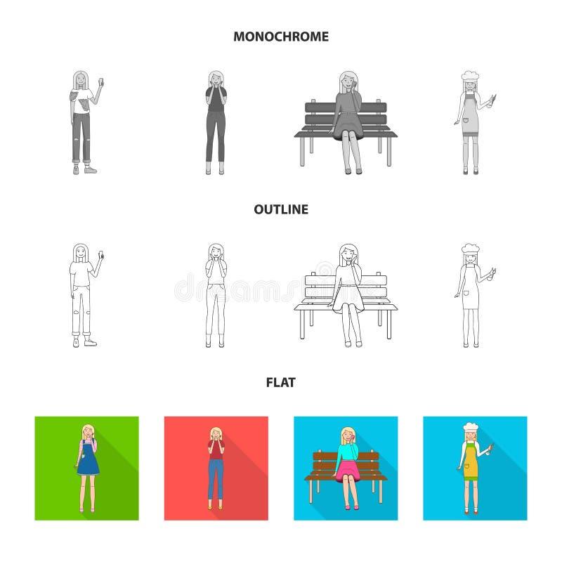 Изолированный объект знака позиции и настроения Собрание позиции и женской иллюстрации вектора запаса иллюстрация штока