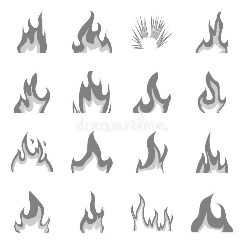 Изолированный объект знака пылать и опасности Собрание пламенеющего и опасного значка вектора для запаса иллюстрация вектора