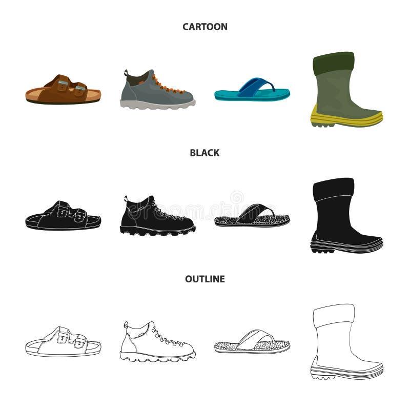 Изолированный объект значка ботинка и обуви Установите значка вектора ботинка и ноги для запаса бесплатная иллюстрация