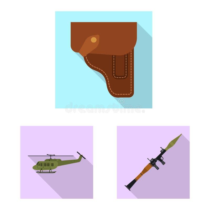 Изолированный объект значка оружия и оружия Собрание иллюстрации вектора запаса оружия и армии иллюстрация штока