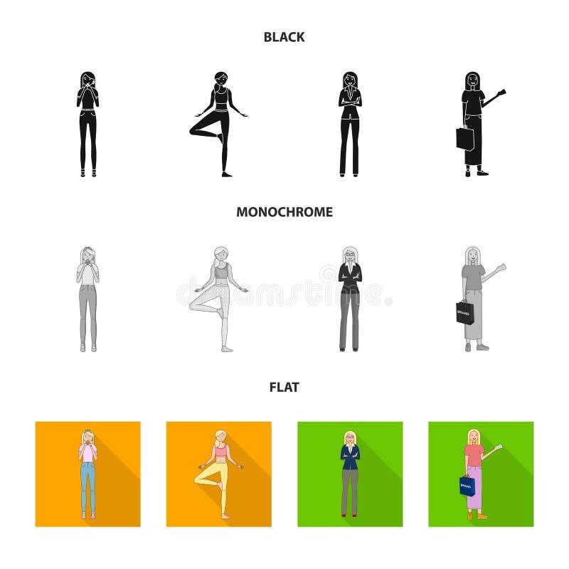 Изолированный объект значка позиции и настроения Собрание позиции и женский значок вектора для запаса бесплатная иллюстрация