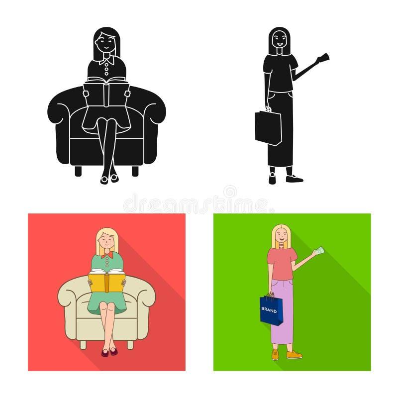 Изолированный объект значка позиции и настроения Собрание позиции и женского сокращенного названия выпуска акций для сети иллюстрация вектора
