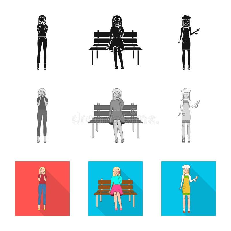Изолированный объект значка позиции и настроения Установите позиции и женского сокращенного названия выпуска акций для сети иллюстрация штока