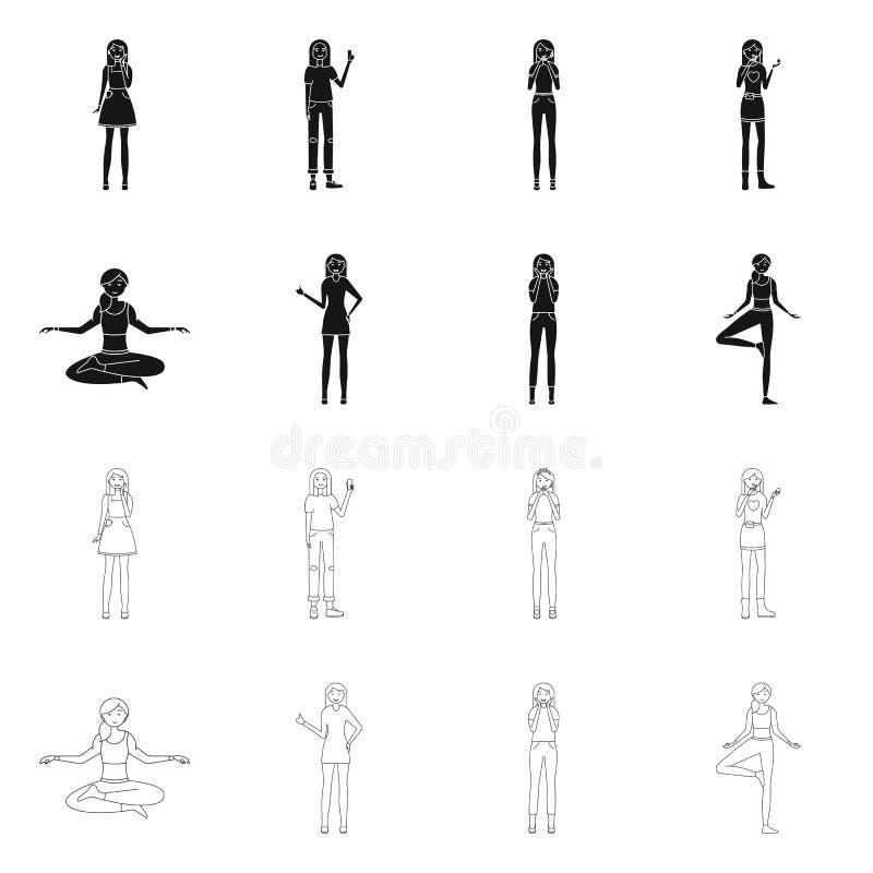 Изолированный объект значка позиции и настроения Установите позиции и женской иллюстрации вектора запаса бесплатная иллюстрация