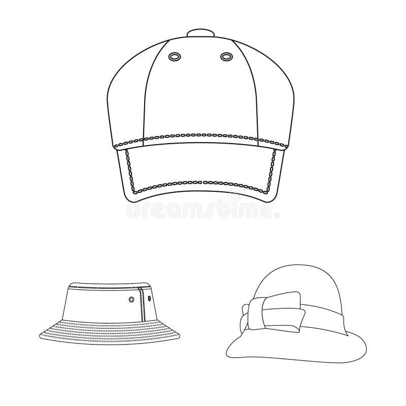Изолированный объект значка headwear и крышки Комплект иллюстрации вектора запаса headwear и аксессуара иллюстрация штока