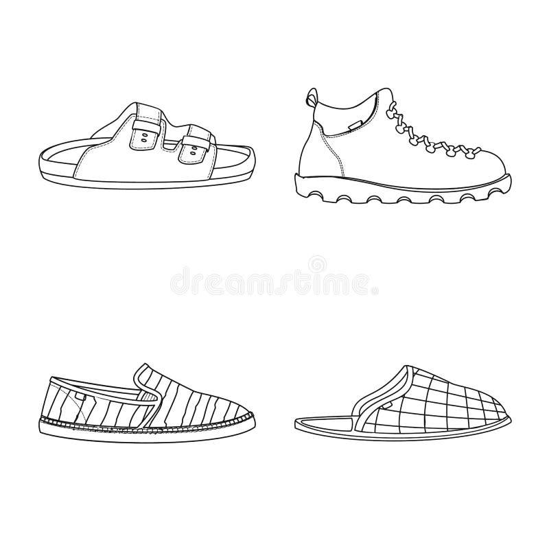 Изолированный объект логотипа ботинка и обуви Установите значка вектора ботинка и ноги для запаса иллюстрация штока