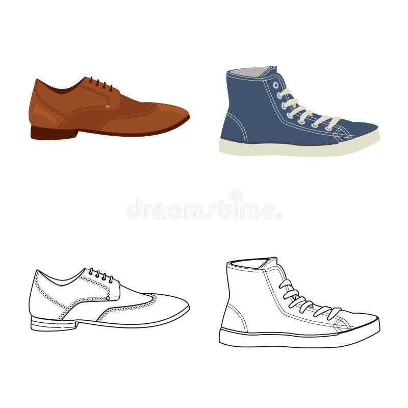 Изолированный объект логотипа ботинка и обуви Установите значка вектора ботинка и ноги для запаса иллюстрация вектора