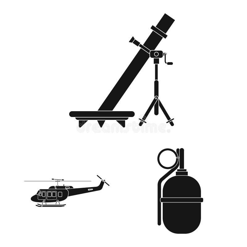 Изолированный объект логотипа оружия и оружия Собрание иллюстрации вектора запаса оружия и армии иллюстрация вектора