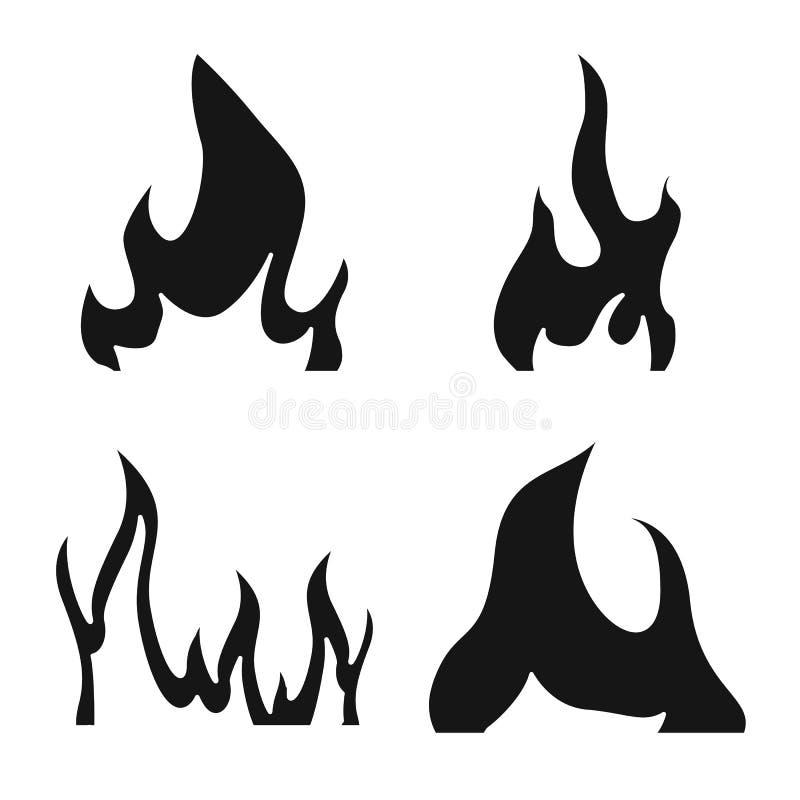 Изолированный объект пылать и значка лесного пожара Установите пылать и красная иллюстрации вектора запаса иллюстрация вектора