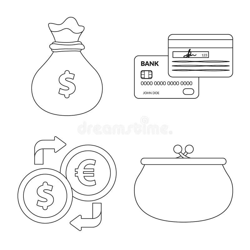 Изолированный объект символа банка и денег Комплект сокращенного названия выпуска акций банка и счета для сети иллюстрация штока