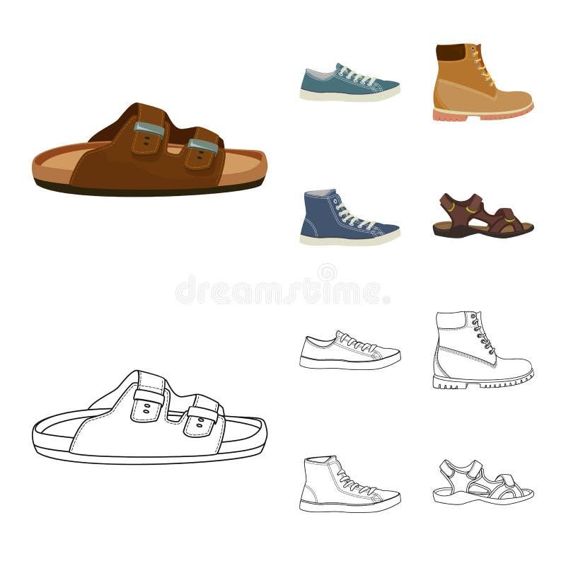 Изолированный объект символа ботинка и обуви r иллюстрация штока