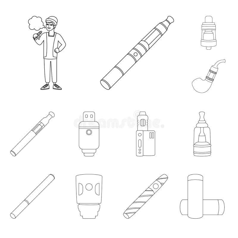 Изолированный объект символа никотина и фильтра Установите сокращенного названия выпуска акций никотина и трубы для сети иллюстрация вектора