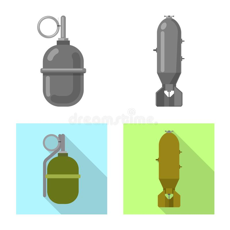 Изолированный объект символа оружия и оружия Собрание значка вектора оружия и армии для запаса иллюстрация штока
