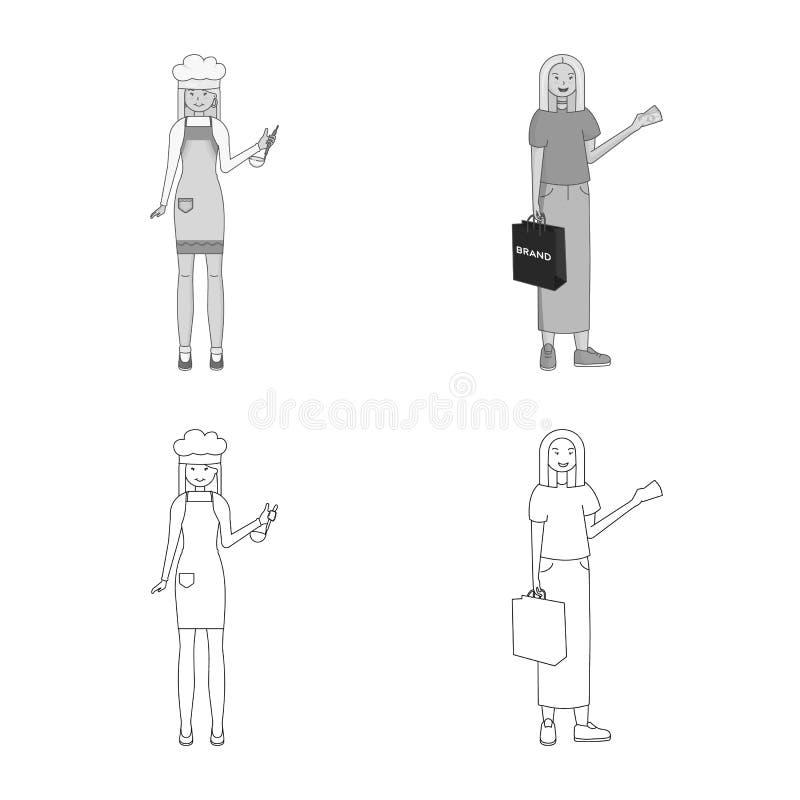 Изолированный объект символа позиции и настроения Собрание позиции и женский значок вектора для запаса бесплатная иллюстрация