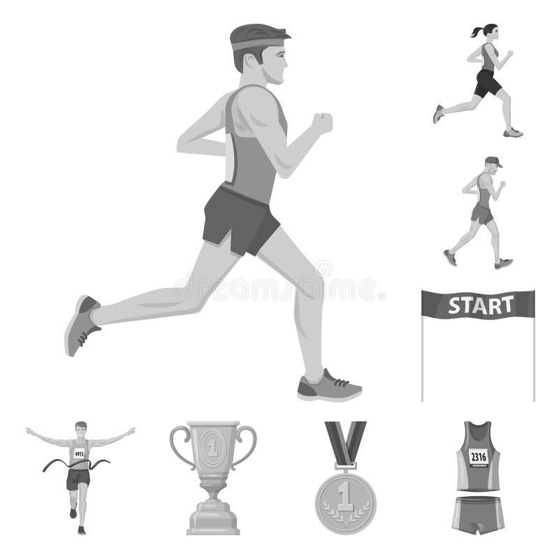 Изолированный объект символа успеха и марафона Собрание успеха и сокращенного названия выпуска акций победителя для сети иллюстрация штока