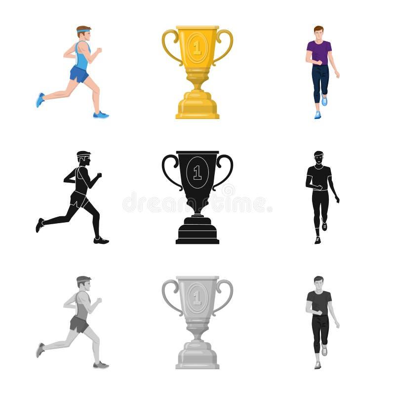 Изолированный объект спорта и логотипа победителя Установите иллюстрации вектора запаса спорта и фитнеса бесплатная иллюстрация