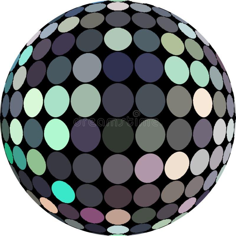 изолированный объект сферы 3d голографический Серая зеленая голубая мозаика зеркала градиента полутонового изображения иллюстрация вектора