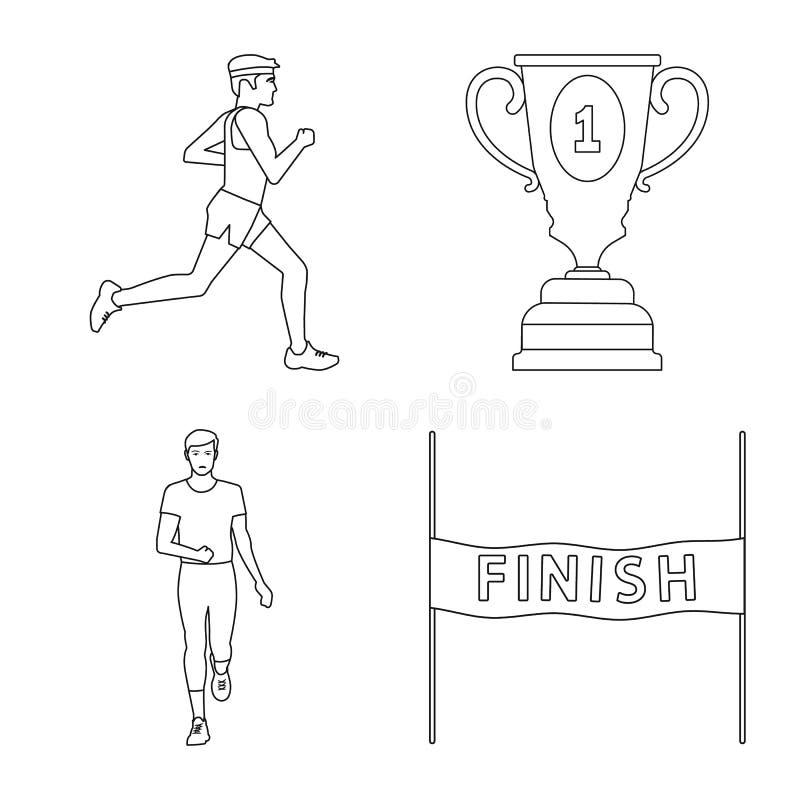 Изолированный объект тренировки и значка спринтера Установите значка вектора тренировки и марафона для запаса иллюстрация вектора
