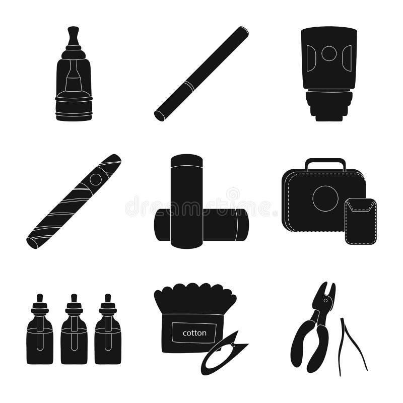 Изолированный объект e-сигарет и ультрамодного знака Установите e-сигарет и электронного значка вектора для запаса иллюстрация вектора