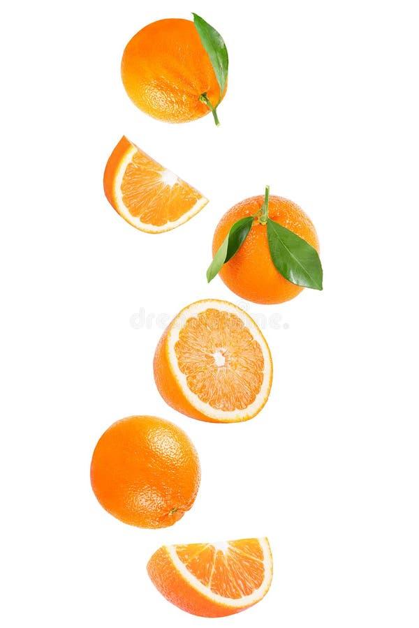 Изолированный падая оранжевый плодоовощ на белизне стоковое изображение rf