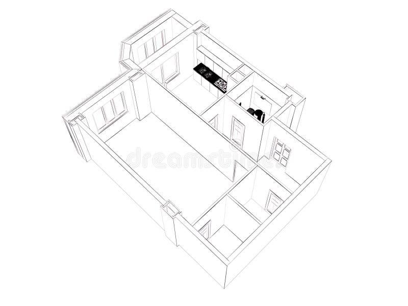 изолированный перевод 3d поставленной домашней квартиры, иллюстрация вектора