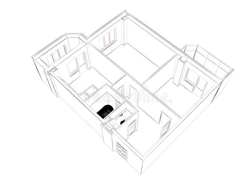 изолированный перевод 3d поставленной домашней квартиры, бесплатная иллюстрация