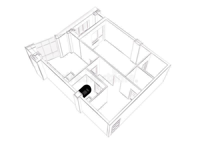 изолированный перевод 3d поставленной домашней квартиры, иллюстрация штока