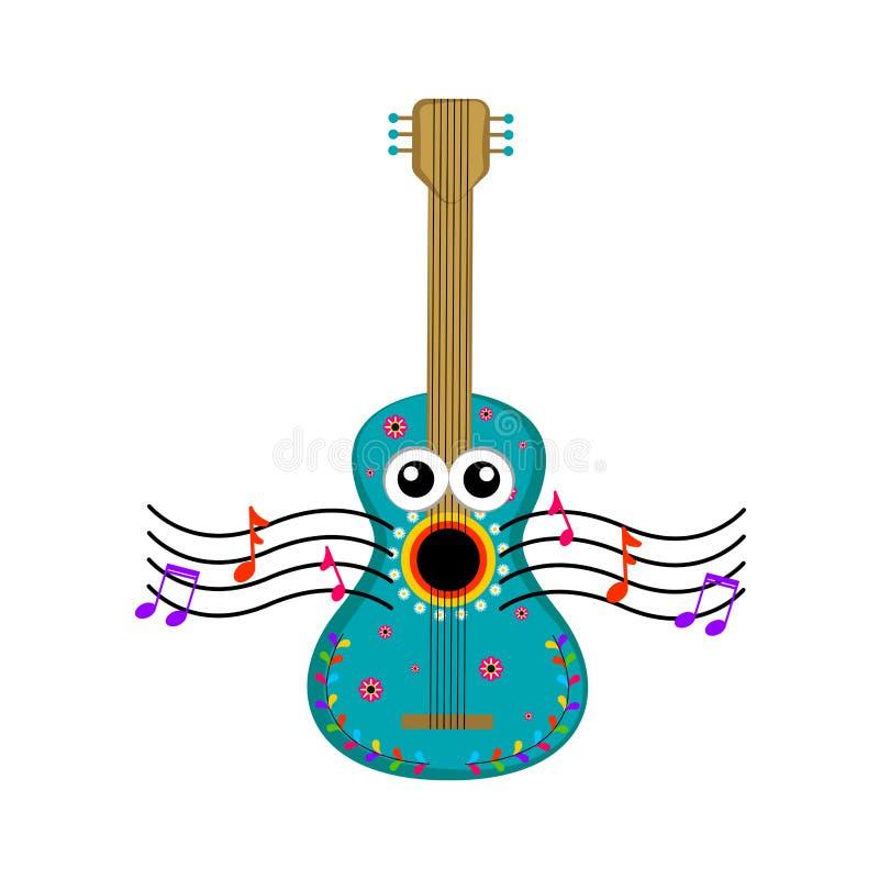 Изолированный петь гитары иллюстрация вектора