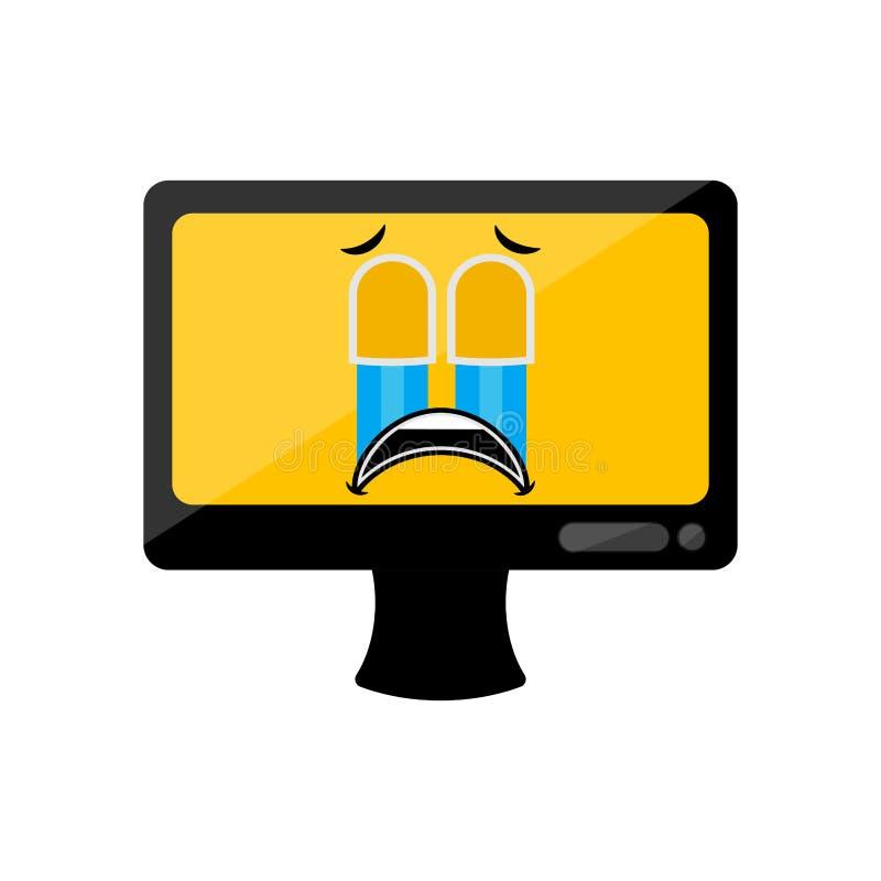Изолированный плача экран компьютера emote бесплатная иллюстрация