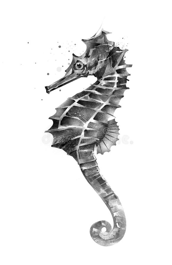Изолированный покрашенный морской конек на стороне иллюстрация вектора
