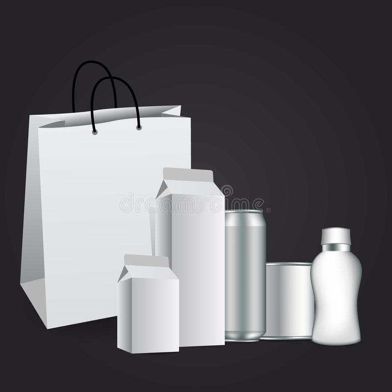 Изолированный пробел коробки пакета коробки молока или сока упаковывая белый иллюстрация штока