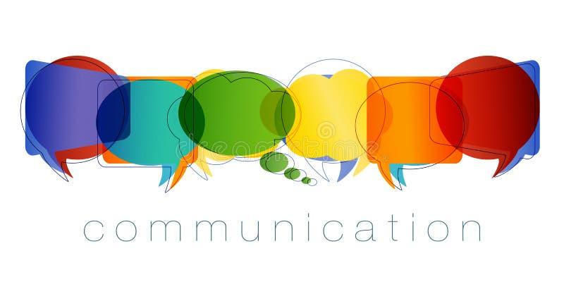 Изолированный пузырь речи с цветами радуги и связью текста Контакты и онлайн маркетинг Concep связи и сети иллюстрация вектора