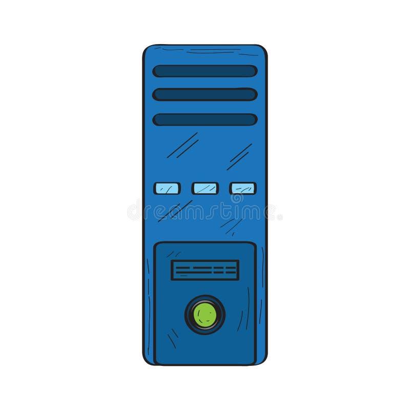 Изолированный ретро значок компьютера иллюстрация штока