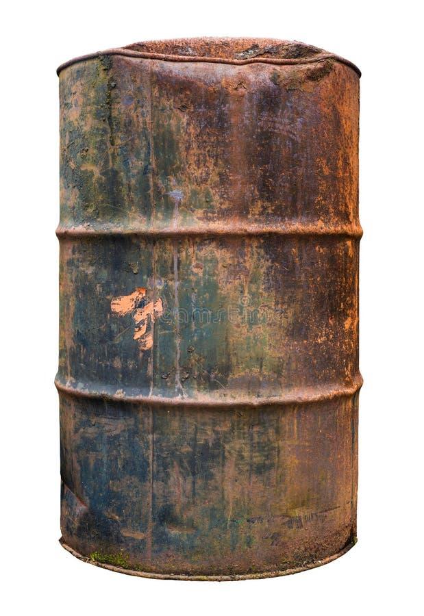 Изолированный ржавый старый бочонок стоковые изображения rf