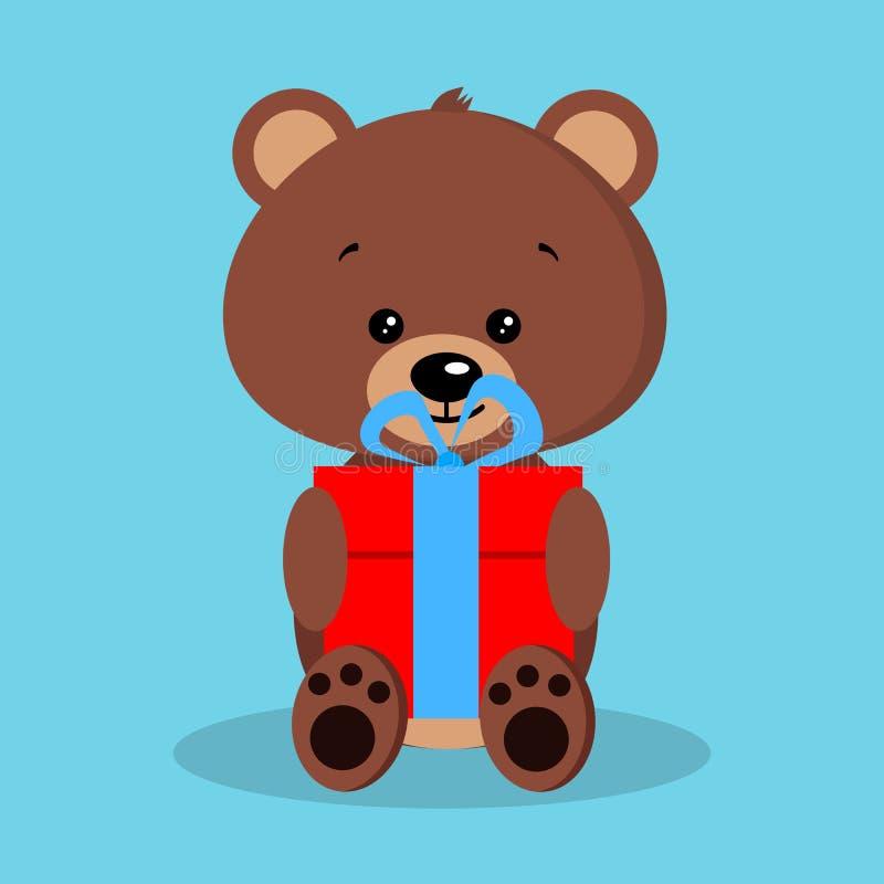 Изолированный романтичный милый бурый медведь младенца в сидя представлении с красным подарком и голубым смычком иллюстрация штока