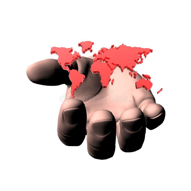 изолированный рукой мир карты 3d иллюстрация вектора