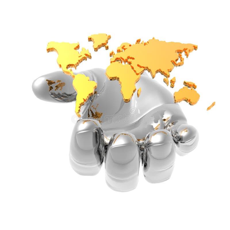 изолированный рукой мир карты 3d иллюстрация штока