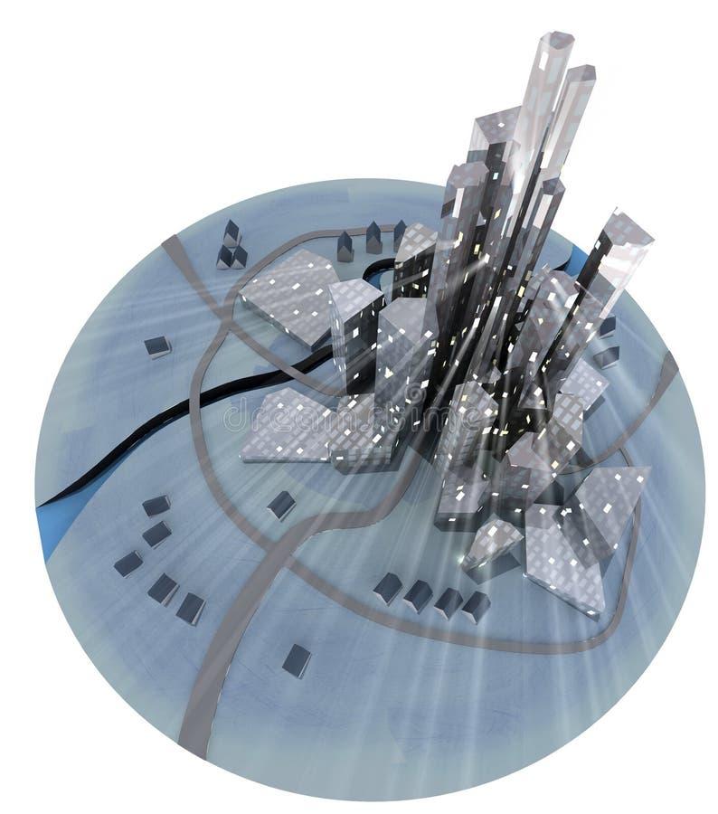 Изолированный самомоднейший город острова развития с блеском окна иллюстрация вектора