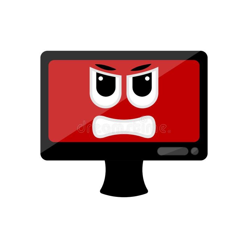 Изолированный сердитый экран компьютера emote иллюстрация штока