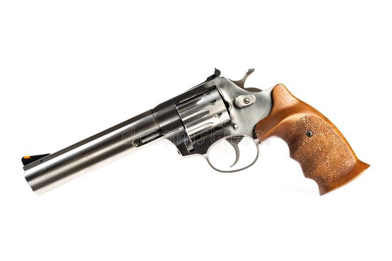 Изолированный серебряный револьвер на белой предпосылке стоковое изображение