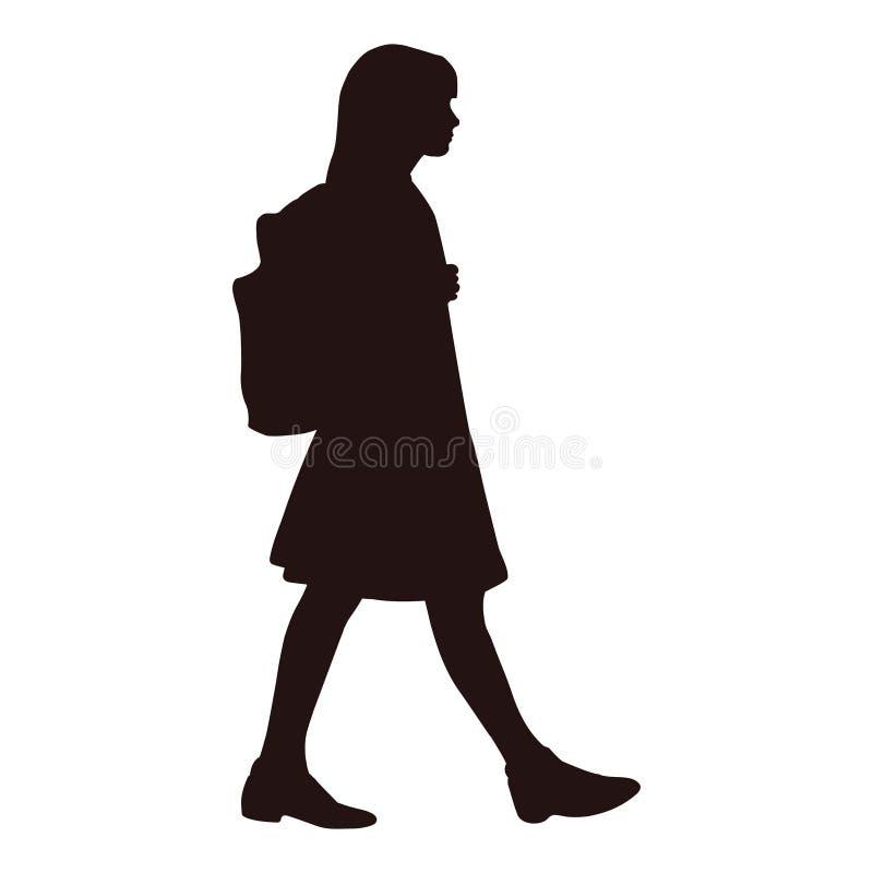 Изолированный силуэт девушки в платье идя к школе бесплатная иллюстрация