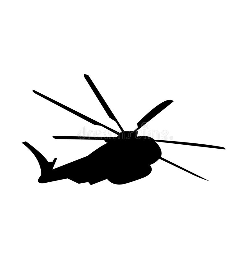 Изолированный силуэт черноты вертолета армии, иллюстрация вектора