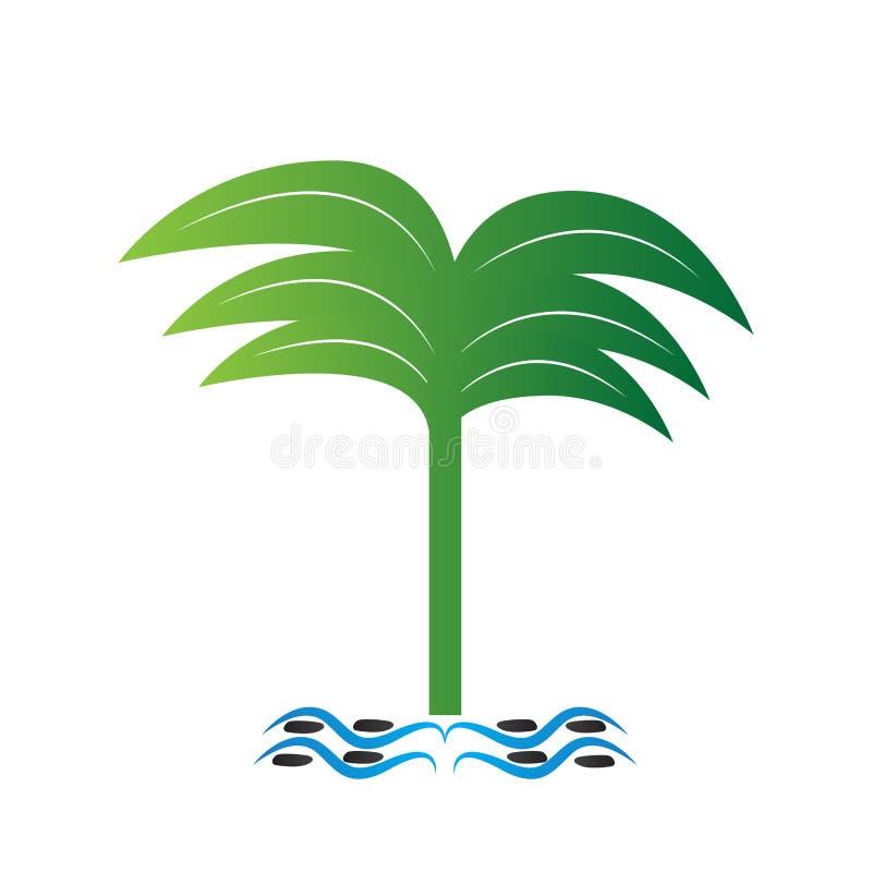 Изолированный символ пальмы Абстрактный логотип курорта иллюстрация штока
