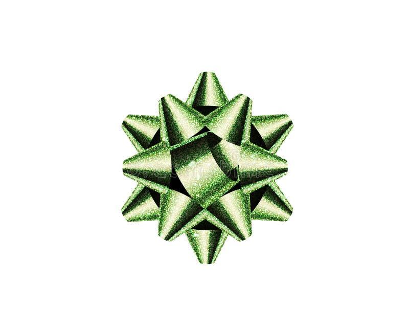 Изолированный смычок ленты подарка яркого блеска зеленый присутствующий на белом backgrou стоковое изображение