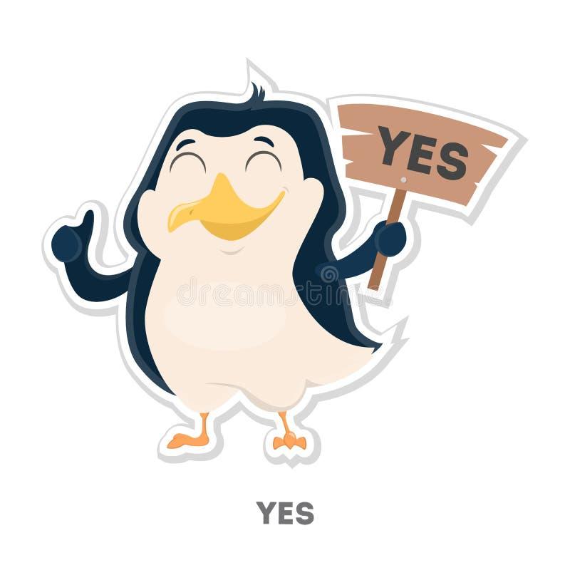 Изолированный соглашенный пингвин иллюстрация вектора