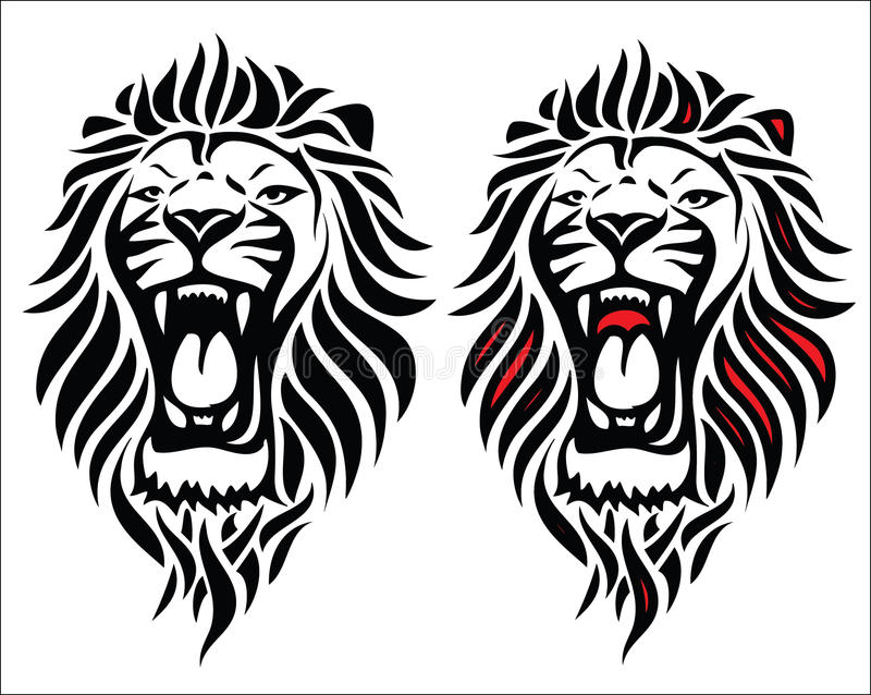 Изолированный соплеменный tattoo льва иллюстрация штока