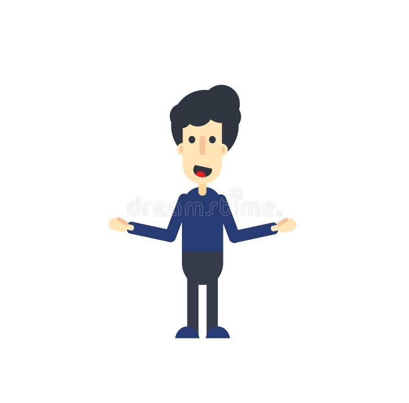 Изолированный счастливый мультфильм человека также вектор иллюстрации притяжки corel стоковая фотография